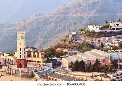 New Tehri, India - March 30, 2018: Mountainous town New Tehri settled at the bank of Bhagirathi river in Uttarakhand.