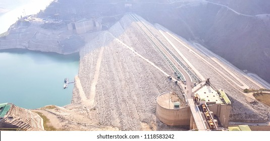 New Tehri, India - March 30, 2018: Tehri Dam of Uttarakhand is the highest dam in India, 2nd highest in Asia and 8th highest in World. It is on the Bhagirathi River near Tehri Garhwal in Uttarakhand,