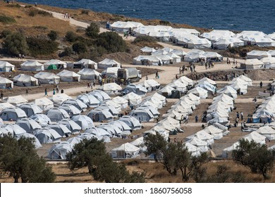 New Temporary Kara Tepe refugee camp with UNHCR tents in Lesbos island, after the fire in Moria hotspot in September. September 20, 2020 - Lesvos, Greece