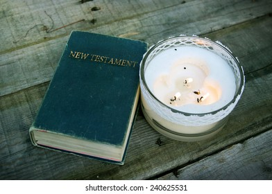 New Testament with Candles
