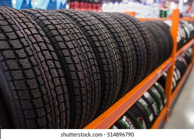 new tires for sale at booth in store.