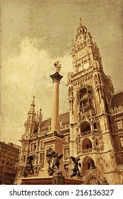 New Town hall with Marian column at Marienplatz (Mary's Square), main square since 1158. Munich, Germany. Vintage toning.