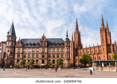 new town hall and market church in wiesbaden