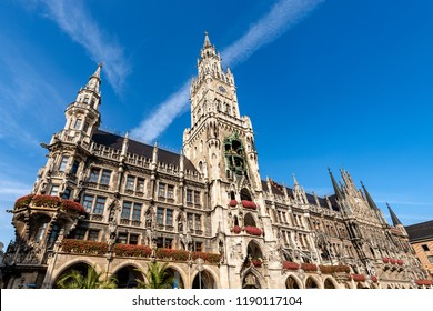 The New Town Hall of Munich - Neue Rathaus, XIX century neo-Gothic style palace in Marienplatz, the town square in historic center. Germany, Europe