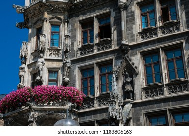 New Town Hall (Neues Rathaus) Neogothic building at Mary's Square (Marienplatz). Munich, Germany