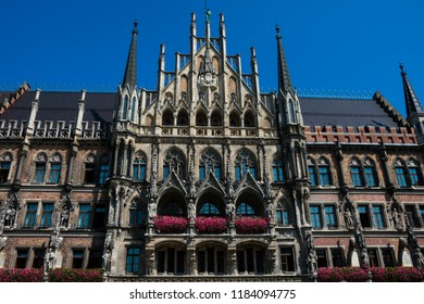 New Town Hall (Neues Rathaus). Neogothic building at Mary's Square (Marienplatz). Munich, Germany