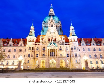 New Town Hall Neues Rathaus with lights at night. Front view. Hanower. Germany