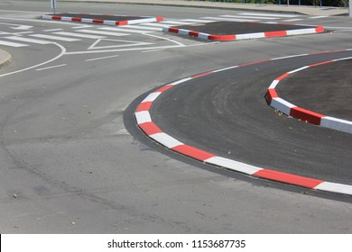 New traffic rotor in the city with red white lines