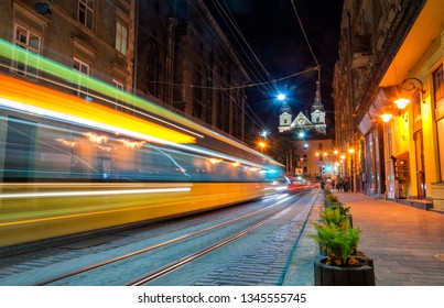 New tram in motion in the center of Lviv. Lvov, Ukraine
