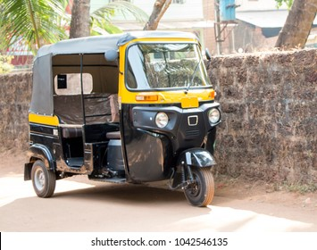 New transport of India. Rickshaw. Just out of the store. The owner bought a new vehicle. Public transport in India. Cheap transportation. Asia.