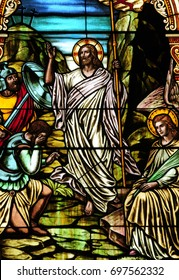 NEW TRIER, MN - August 16, 2017: Stained glass window in Church of St. Mary, depicting the biblical scene of the presentation of Jesus in the Temple