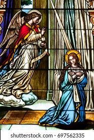 NEW TRIER, MN - August 16, 2017: Stained glass window in Church of St. Mary, depicting te Annunciation of the Angel Gabriel to the Blessed Virgin Mary