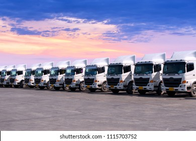 The new truck fleet is parking at yard.
