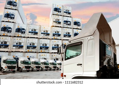 New truck fleet with Reefer container as in logistics shipping background.