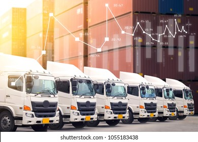 New truck fleet service in logistics shipping import, export, inland, domestic business background.