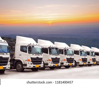 New truck fleet with very beautiful sky.