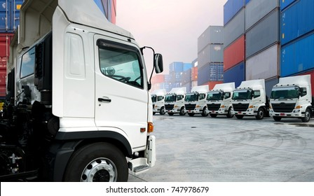 New trucking fleet in container depot as in logistics and Transportation concept