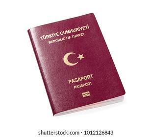 New Turkish passport isolated on white background.
