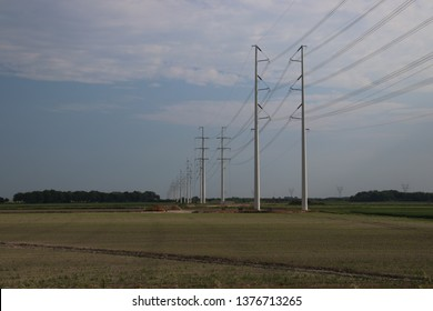 New type of power lines towers named wintrack in the Netherlands at the 380 KV track at Bleiswijk