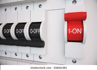 """New type Trip Switch Fuse box. All switches are """"ON"""" position. Electricity, power, fuse related."""