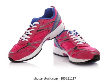 New unbranded running shoe, sneaker or trainer isolated on white