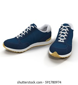 New unbranded running shoe, sneaker or trainer isolated on white. 3D illustration