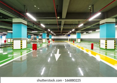 New underground car park, empty without a car.