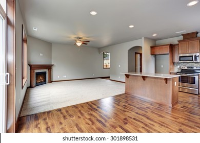 New unfurnished home interior, including dinning room, living room, and kitchen.