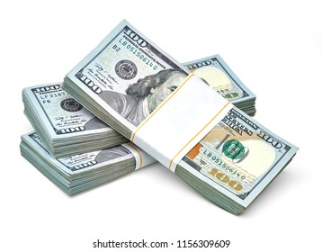 New US Dollar bills bundles stack on white background including clipping path.