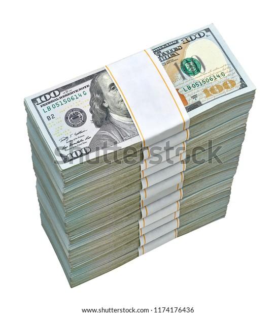 New Us Dollar Bills Bundles Stack Stock Photo (Edit Now
