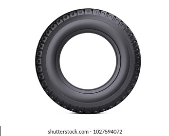 New vehicle truck tire. Big car wheel - front wiev. 3d illustration over white background.