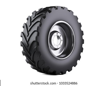New vehicle truck tire. Big car wheel with metal disk for heavy trucks. 3d illustration over white background.