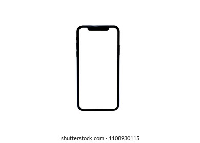 New version of black slim smartphone similar to iphone x with blank white screen from Apple generation 10 , mockup model similar to iPhonex isolated on Background of digital economy.