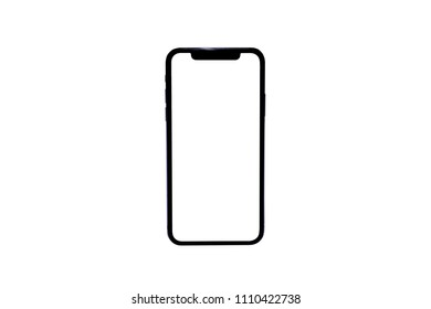 New version of black slim smartphone similar to iphone x with blank white screen from Apple generation 10 , Front model similar to iPhonex isolated on white background