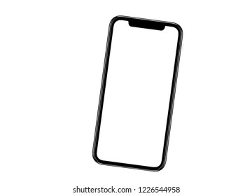 New version of black slim smartphone similar to iphone xs max with blank white screen from Apple generation 10 , mockup model similar to iPhonex isolated on Background of digital economy.
