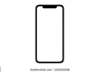New version of black slim smartphone similar to iphone xs max with blank white screen from Apple generation 10 , mockup model similar to iPhonex isolated Background of ai digital investment economy.