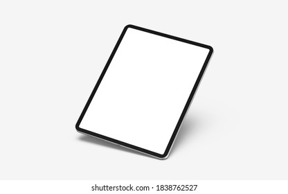 New version of premium tablet in trendy thin frame design. graphic tablet of the new generation with a blank screen on a light background. iPad Pro.