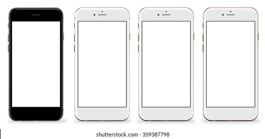 New version. Set of four smartphones gold, rose, silver and black with blank screen, isolated on white background. Real camera, high resolution, detailed illustration.
