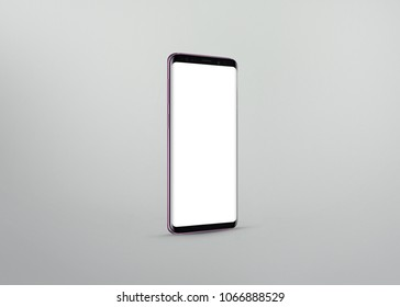New version of smart phone with touchscreen isolated on grey background
