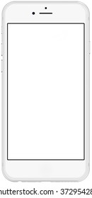 New version. Smartphone silver with blank screen, isolated on white background - high detailed illustration.