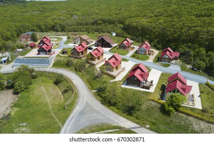 new village of houses built from a beam of one project