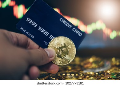 New virtual money concept, Gold Bitcoins ( btc )  is Digital crypto-currency use blockchain Technology for Financial transactions in change the world