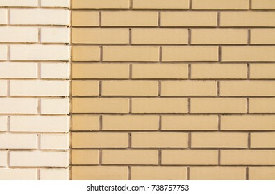 A new wall of brown and white brick for the background.