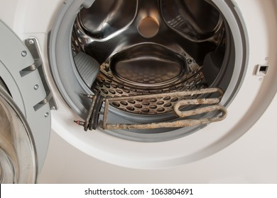 New washing machine of latest generation The heating element is covered with rust and scum due to the absence of a filter for hard water. Water softener. Social assistance to pensioners