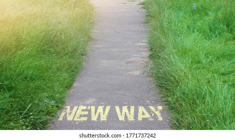 New way on Road surface. Business startup, recovery or new life concept.