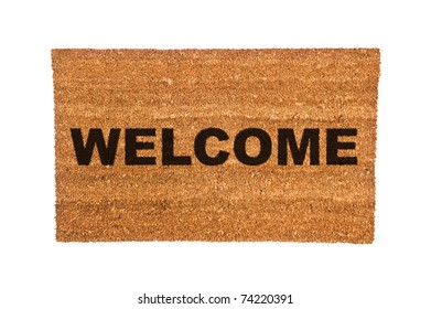 A new welcome doormat isolated on a white background.