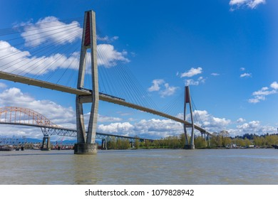 NEW WESTMINSTER, BC / CANADA - APRIL 2018: Skybridge for skytrain public transportation connecting New Westminster and Surrey