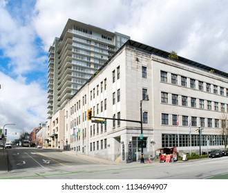 NEW WESTMINSTER, COLUMBIA ST - MARCH 6, 2018: Pictured is historic building on Columbia Street, where is seated New Westminster Police Department, which was founded in1873