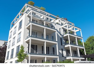 New white apartment house seen in Berlin, Germany