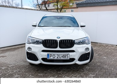 New White bmw X1 model front, standing at the parking  presented by Dealer BMW  Inchcape Motor Wrocaw march 2017